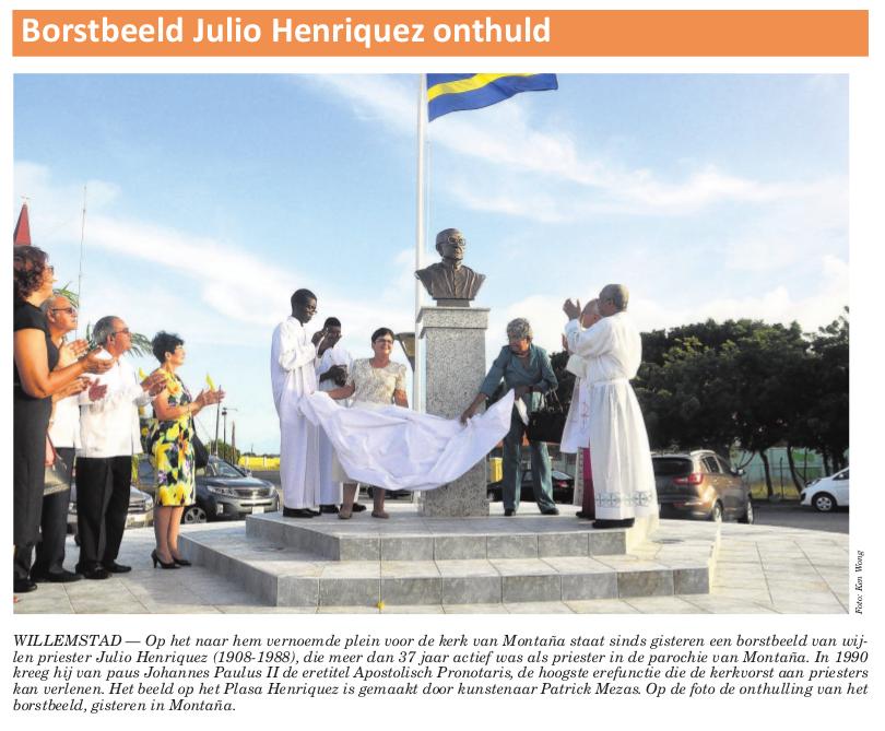 Onthulling borstbeeld Julio Henriquez
